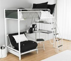 girls loft bed with desk | Functional teen room furniture ideas – metal bunk bed and desk combo