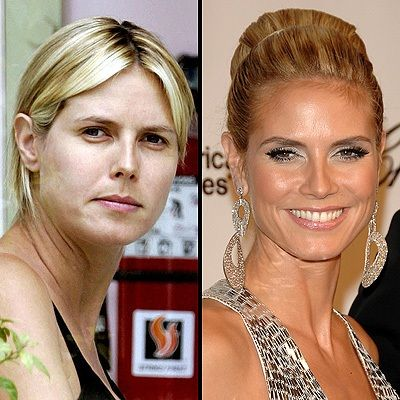 Heidi Klum with & without makeup -- It doesn't hurt to remind ourselves that celebrities are people too...
