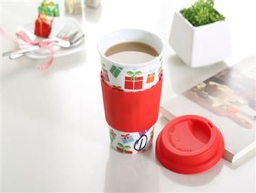 16oz ceramic eco cup with reusable silicone lid and sleeve that protects hands,for christmas. #porcelain_eco _cup