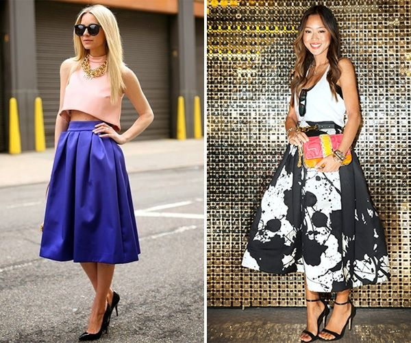 Модный совет: как правильно создать образ на основе юбки чайной длины / фото 2016