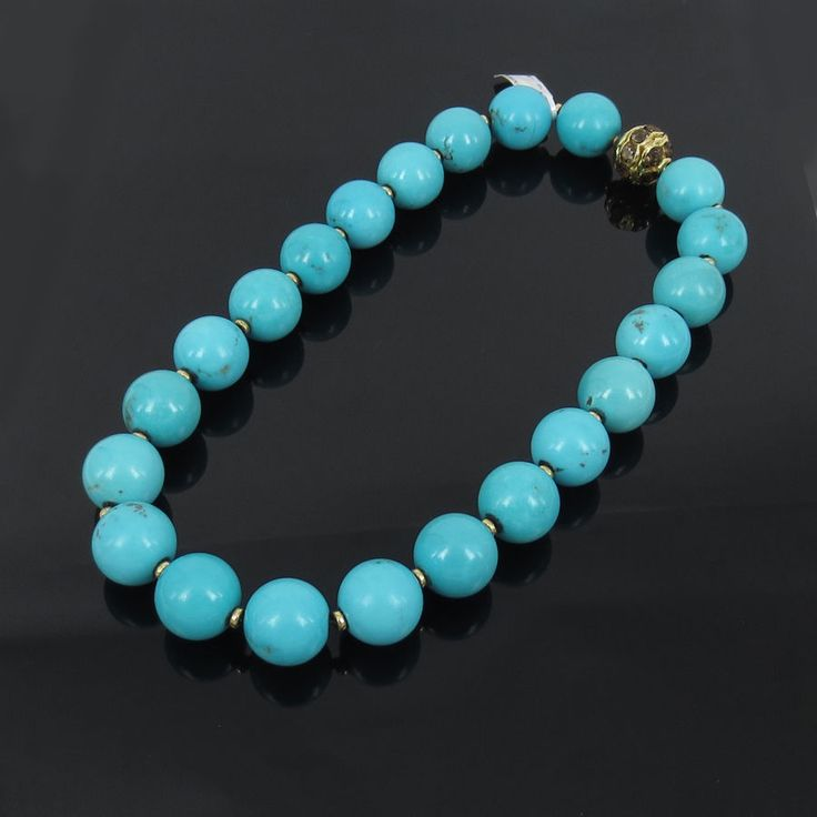 $18,500.00! #Vintage #Turquoise & Smokey #Quartz 18K Yellow #Gold Large Bead #Necklace