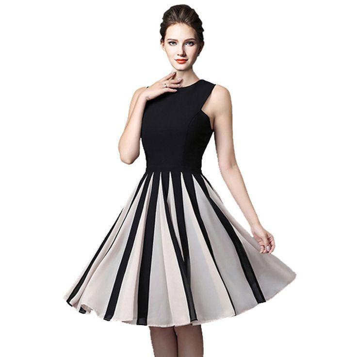 DHTEMA 2017 Summer sleeveless Waist Elastic Chiffon Brief Plus Size Casual Party vestidos Dress
