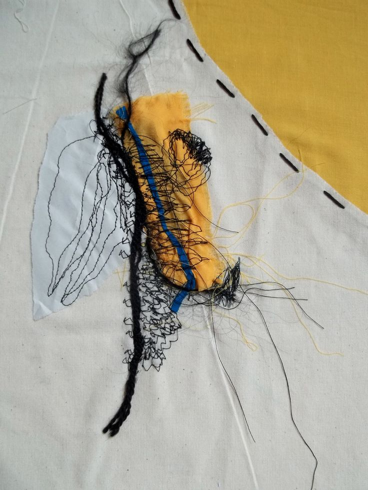 -Stitched Textile Series: Mixed Media stitched drawing, using paper, free hand embroidery, running stitch and couching.  Inspired by the Bauhaus movement and architecture.