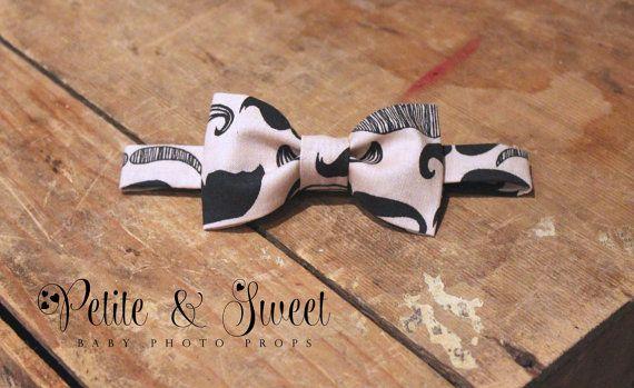 Newborn/ Child Mustache Bow Tie: Newborn Photography Prop/ Ready to Ship on Etsy, $10.00 CAD