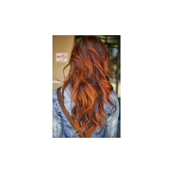 Auburn hair with highlights #redhair #illusionscolorspa #ombre | goes... ❤ liked on Polyvore featuring beauty products and haircare