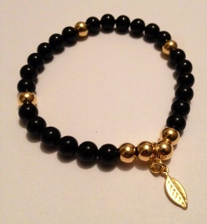 Stunning bracelet handmade by Hannah at Blue Apple Jewellery Mystic Black Swarovski Crystal Pearls & Vermeil Gold. Fashionable, sparkling & perfect for stacking & collecting. www.blueapplejewellery.com