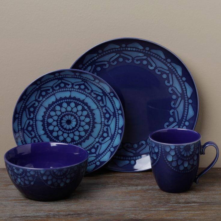 Tabletop Gallery 'Morocco' Blue 16-piece Dinnerware Set | Overstock.com
