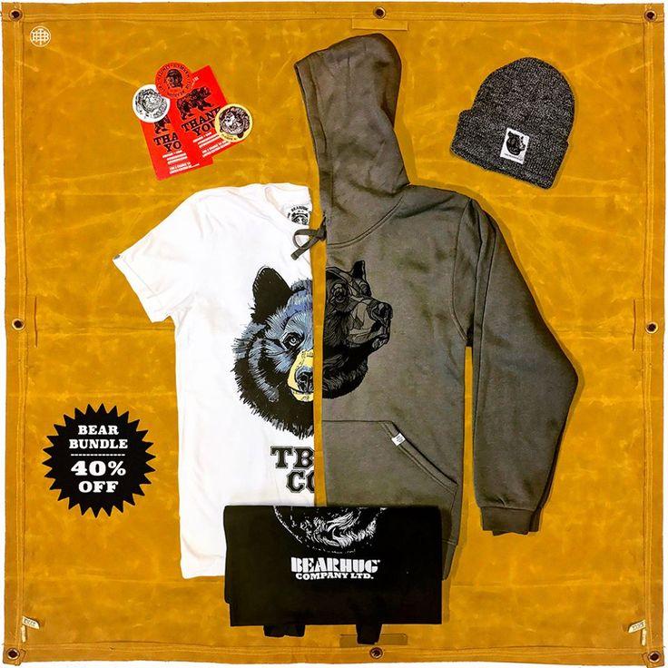 BEAR BUNDLE: Hoodie/Sweat + TShirt + Beanie + Tote (Save 40%) - www.thebearhug.com/ - You pick the designs!