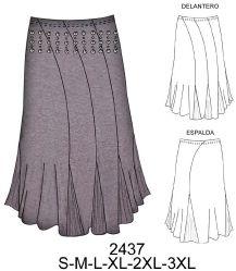 Falda asimétrica con 4 paños en delantero y 2 en espalda. Art. 2437. Tela: Jersey lycra, lycra nylon. Consumo tela talla L. Tela: 1.70 mts. aprox. Forro: 1.30 mts. aprox.