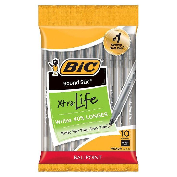 BIC Round Stic Ballpoint Pens, Medium Tip, 10ct - Black