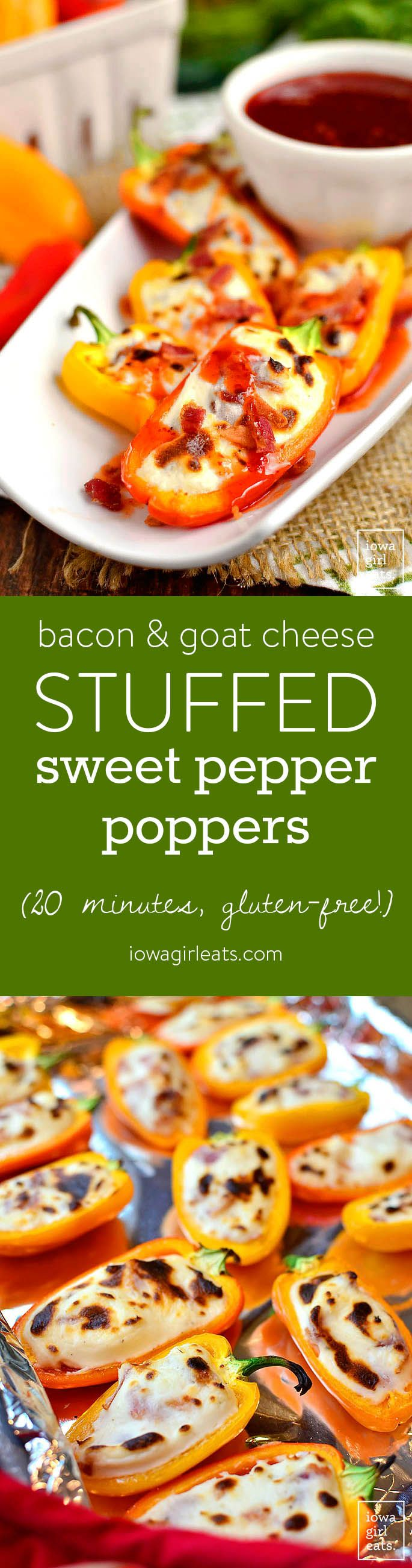Bacon and Goat Cheese Stuffed Sweet Pepper Poppers are an addicting, 20 minute gluten-free appetizer recipe. Perfect for parties, patios and get-togethers! | iowagirleats.com
