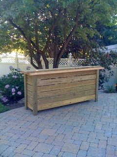 outdoor patio bar. Looks simple enough and then add a coat of gloss.