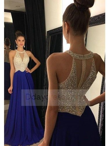 2ff66524b04 Sexy Halter V Neck Sleeveless Beading A-line Evening Prom Dress ItemRe0009