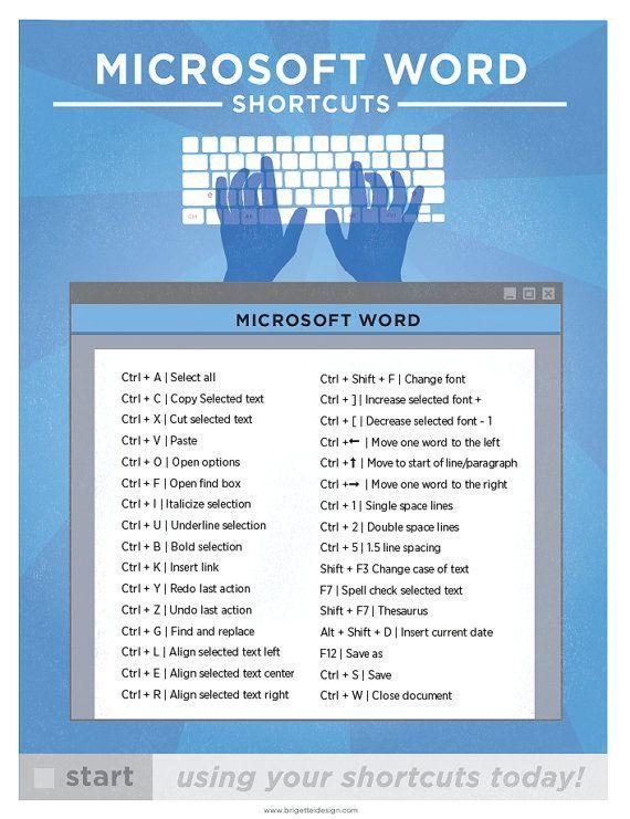 Microsoft Word Keyboard Shortcut PC Printable von brigetteidesigns