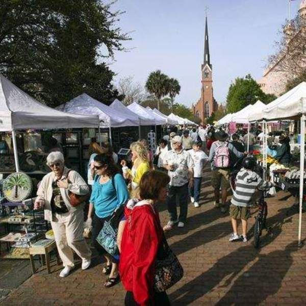 The Charleston Farmers' Market is open every Saturday from 8 a.m. to 2 p.m. and features an assortment of produce stands, craft tents, and prepared food vendors. I especially love the food vendors, who turn the southwest corner of Marion Square into a bustling outdoor food hall. It's a great spot...