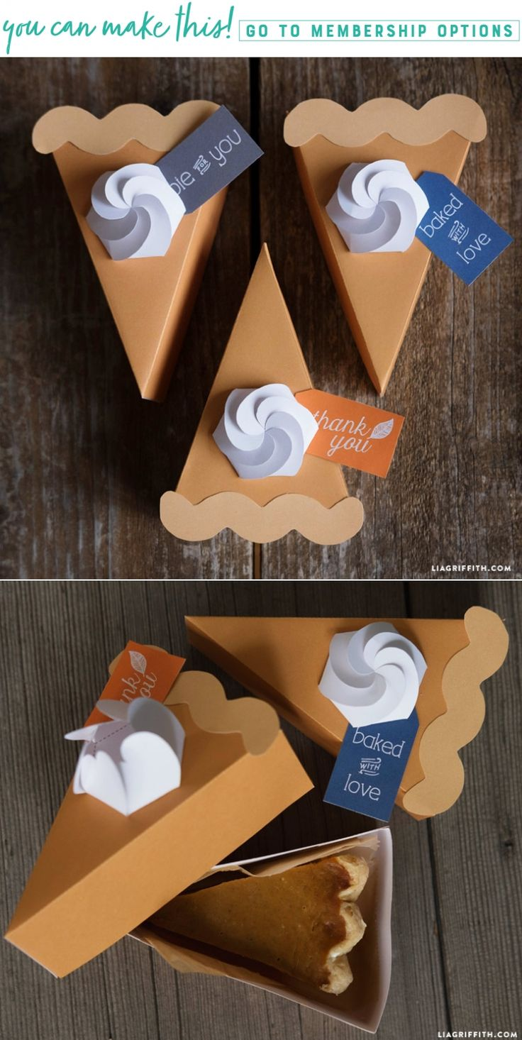 DIY Printable Pie Slice Boxes - www.LiaGriffith.com #Printables #Thanksgiving #PumpkinPie #FallDIYIdeas #DIYFallIdeas