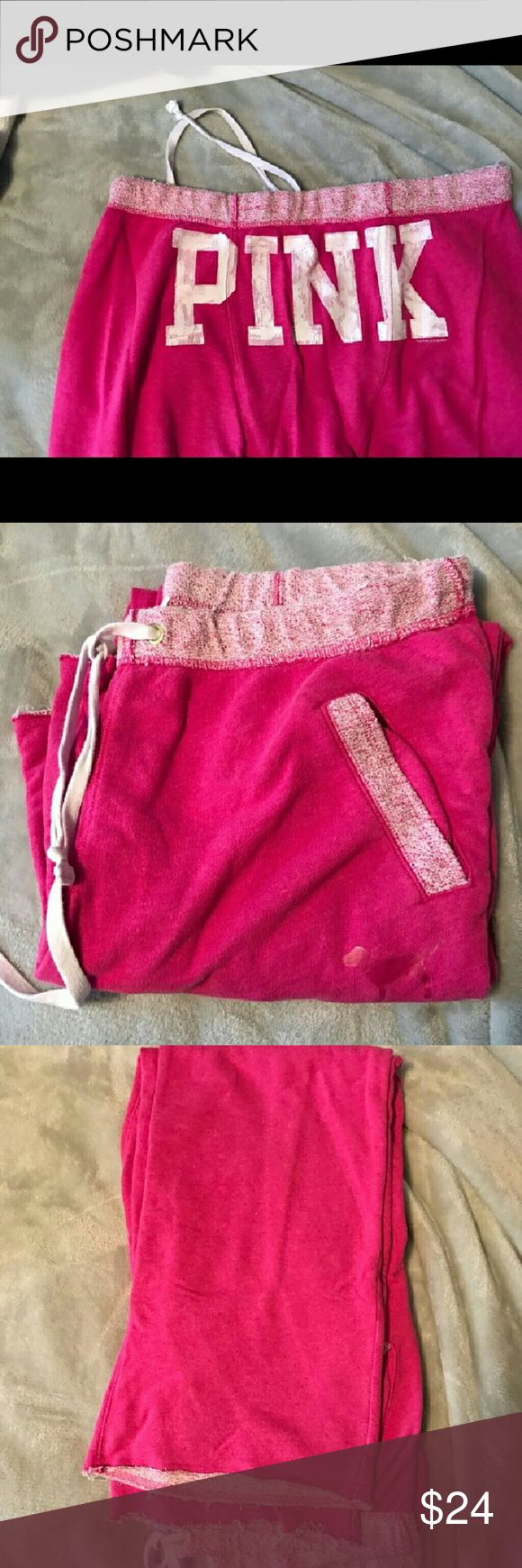 Victoria's Secret boyfriend sweatpants Victoria's Secret PINK boyfriend sweatpants. Size is large, in very good shape w/ minimum pilling etc. Color is hot pink with light pink waistband and matching trim on pockets. PINK logo on the but. These have a raw edge hem to make as long or short as you need. Victoria's Secret Pants Track Pants & Joggers