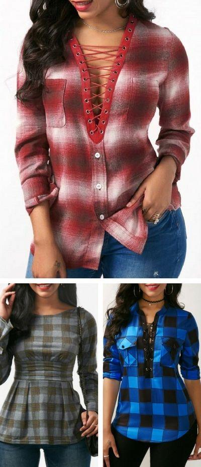 plaid blouse, plaid top, plaid outfit, plaid idea, plaid long sleeve.