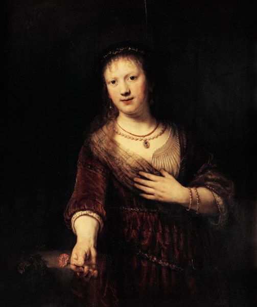 Rembrandt van Rijn - Saskia with the red flower