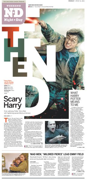 """The San Diego Union Tribune - Night & Day section start - """"Scary Harry / The End""""  #sectionstarts #text-on-photos #whitespace-on-photos #whitesapce-interacting-with-photos  - play w/ typography - magazine top, broadsheet bottom - use of white space"""