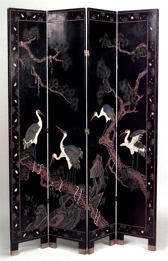 Asian Chinese screen 4 fold coromandel