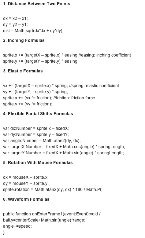 #flash #as3 advanced: 16 Useful Mathematical Formulas In ActionScript 3 http://ntt.cc/2010/07/06/16-useful-mathematical-formulas-in-actionscript-3.html