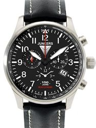 Junkers 6684-2 Watch features a black dial with luminous hour and minute hands, date window a 4:00, Alarm function at 6:00, and a 12 hour to...