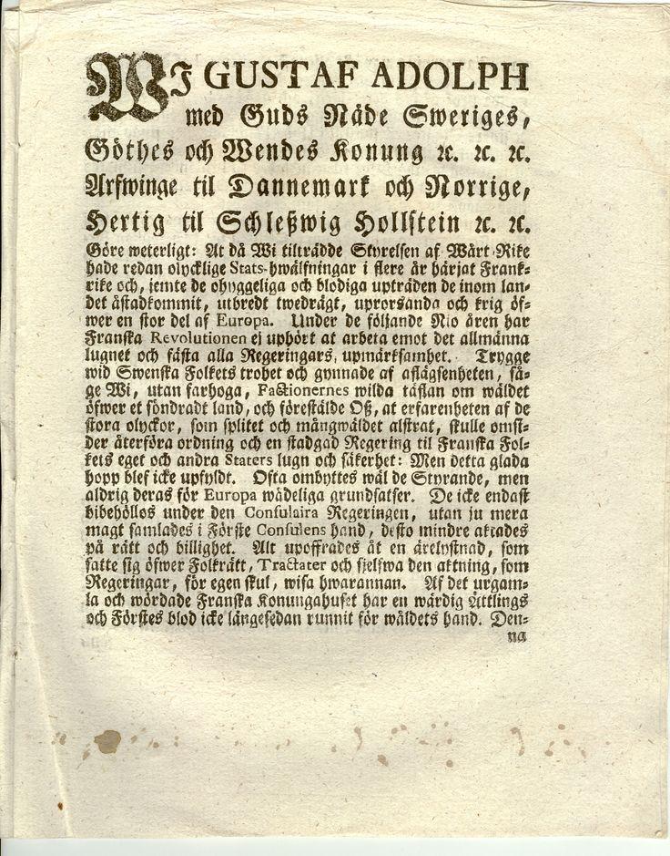 Wi Gustaf Adolph med Guds Nåde Sweriges, Götes och Wendes konung u.u.u.... Sidan1