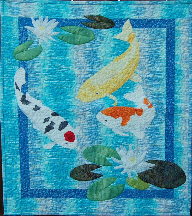 Koi quilt patterns and fish quilt on pinterest for Koi pond quilt pattern