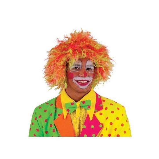 Deze fel gekleurde clownspruik is geschikt voor volwassenen en is gemaakt van polyester garen.