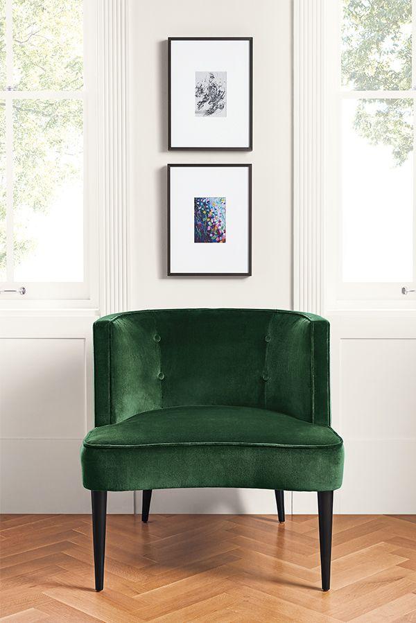 Green Velvet Accent Chair Modern Furniture Living Room