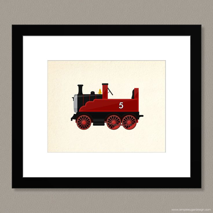 "Choose a colour, and make it your own! ""Vintage Toy Train"" print by Simple Sugar Design"