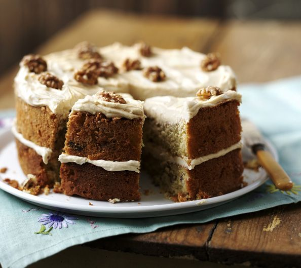 This classic coffee and walnut cake is topped with an easy espresso-infused butter cream icing