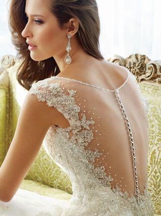 Свадебное платье А-силуэт (принцесса) с открытой спиной со шлейфом кружевное длинное 2015 №10 | NevestaM.by
