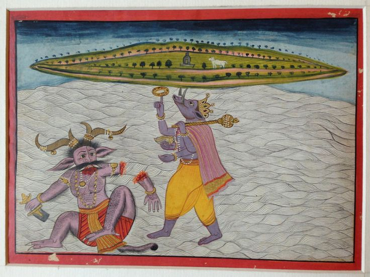 Miniature painting of Varaha Avatar, Pahari, Mewar assimilated style, mid 19th century