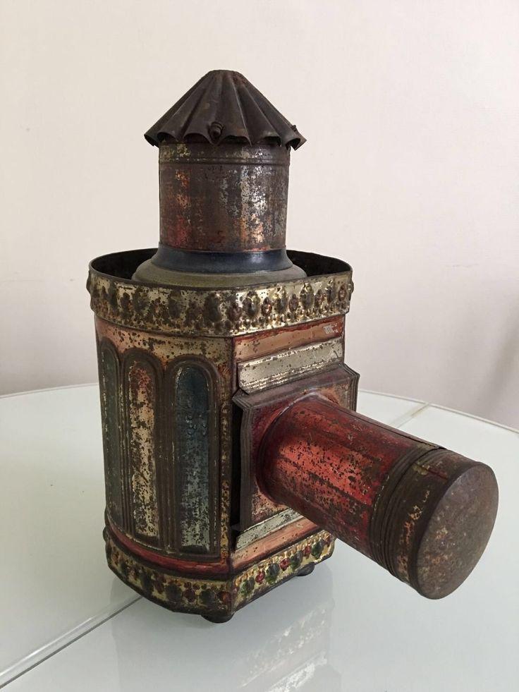 LANTERNE MAGIQUE RICHE 1880 à alcool tôle polychrome hauteur 29 cm PLAQUES VERRE in Collections, Photographies, Autres | eBay