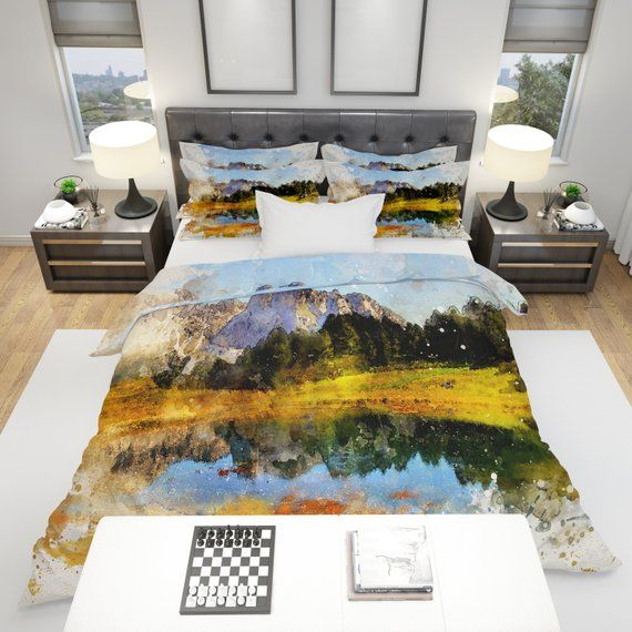 Bedding Comforter Or Duvet Cover Watercolor Mountains Scenic Nature Twin Queen King Size Bedding And Curtain Sets Contemporary Bed Bed Design