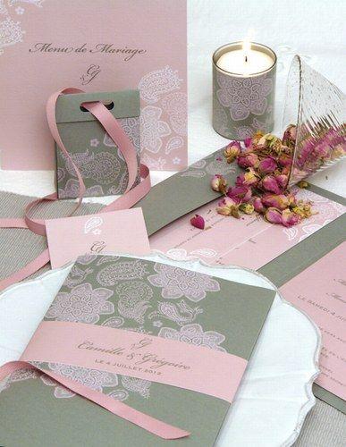 Faire-part de mariage rose et gris