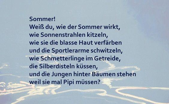 """Schülerarbeiten: Kinder einer 6. Klasse haben das Gedicht """"Sommer"""" von Ilse Kleberger weiter geschrieben ..."""