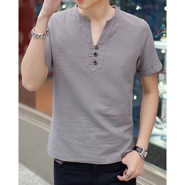 Fashion V-Neck Solid Color Button Design Slimming Short Sleeve Cotton+Linen T-Shirt For Men