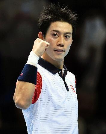 アンディ・マリーに勝利し、ガッツポーズの錦織圭=ロンドン(ロイター=共同) ▼10Nov2014共同通信|錦織、A・マリーに勝ち好発進 テニスのATPファイナル http://www.47news.jp/CN/201411/CN2014110901001584.html #Kei_Nishikori #ATP_World_Tour_Finals_2014