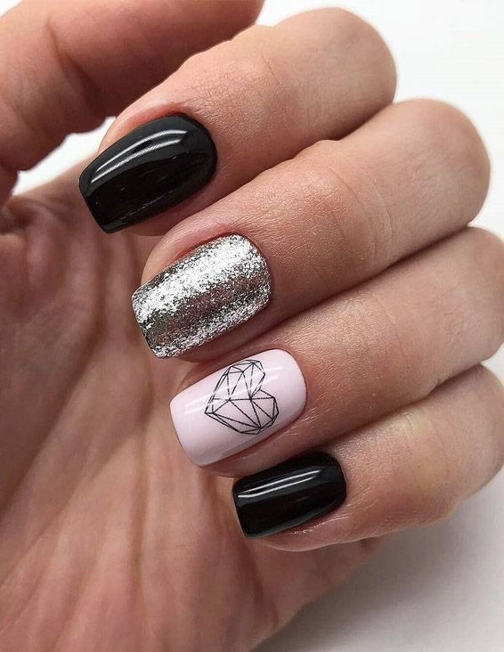 Classical Black Nail Art Style Combination For 2019 Square Nail Designs Short Square Nails Square Nails