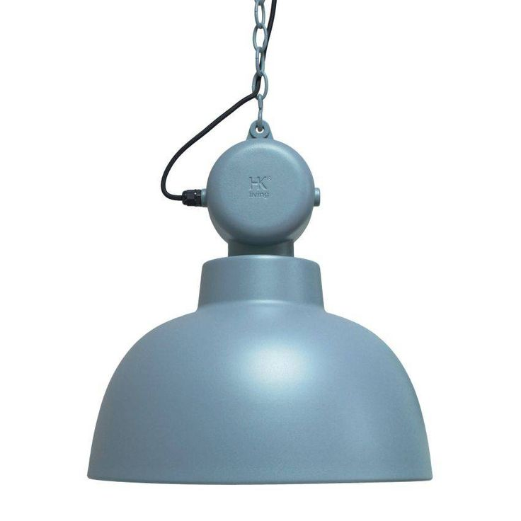 HK-living Hanglamp Factory industrial blue mat blauw MEDIUM metaal Ø40x45cm