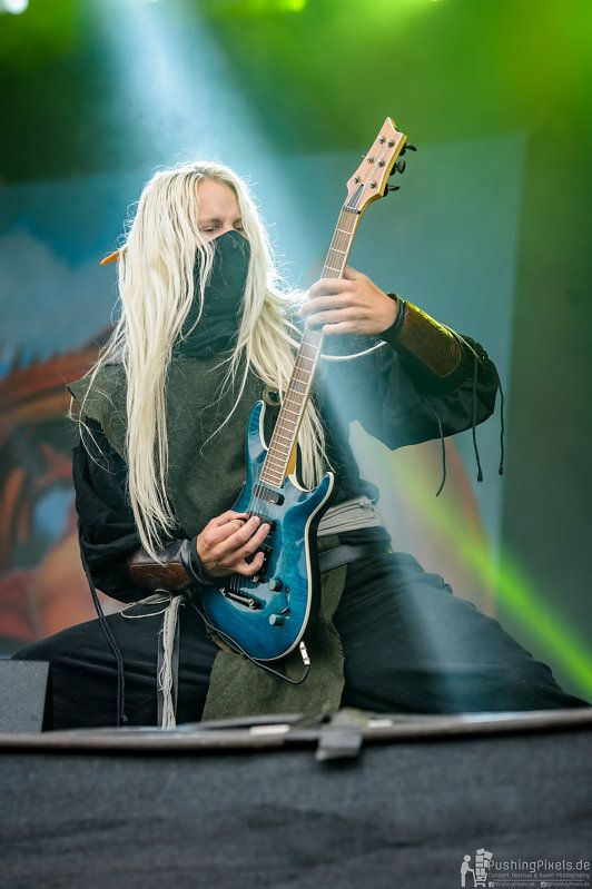 Aerendir - Twilight Force ⚫ Photo by Markus Felix, PushingPixels.de ⚫ Rockharz 2016 ⚫ #TwilightForce #music #metal #concert #gig #musician #Aerendir #guitar #guitarist #elf #performing #playing #mask #wow #warcraft #anime #tabard #bracers #dragon #fire #castle #blond #longhair #festival #photo #fantasy #magic #cosplay #larp #man #onstage #live #celebrity #band #artist #performing #Sweden #Swedish #Rockharz