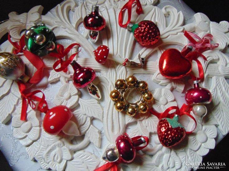 Antik karácsonyfadíszek gomba eper