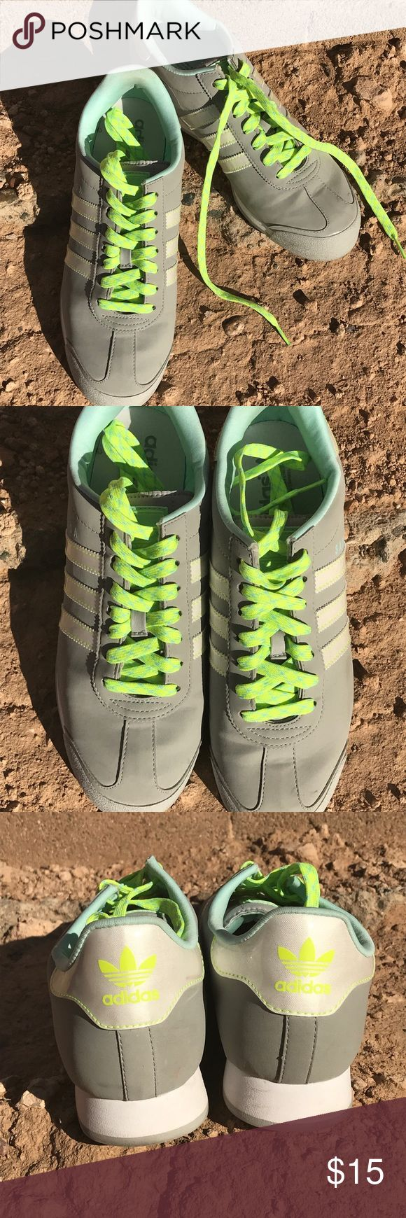 Adidas Samoa Light grey with neon green and light blue shoelaces adidas Shoes Sneakers