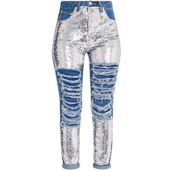 Mid Wash Sequin Distress Mom jean (€22) ❤ liked on Polyvore featuring jeans, pants, bottoms, distressed jeans, sequin jeans, destruction jeans, medium wash distressed jeans and torn jeans
