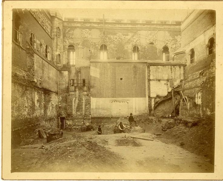 """Norwich Castle Keep """"This final shot from November 1889 shows the excavations in the gutted castle keep, before its conversion into a museum. The blocked archway in the top right corner was opened up, and shows the kitchen area on the balcony in the museum today."""""""