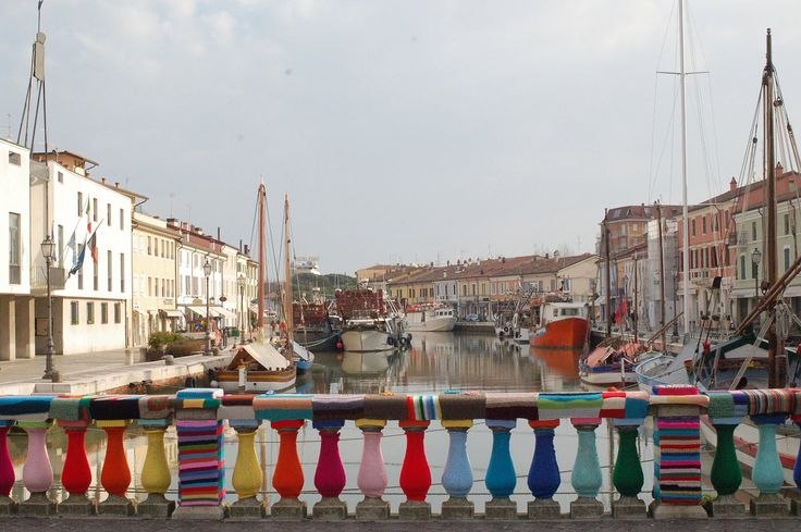 Yarn bombing on an ancient bridge in Cesenatico (Italy)