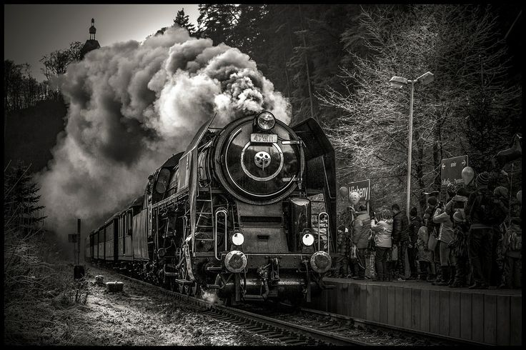 Steam train bw - null